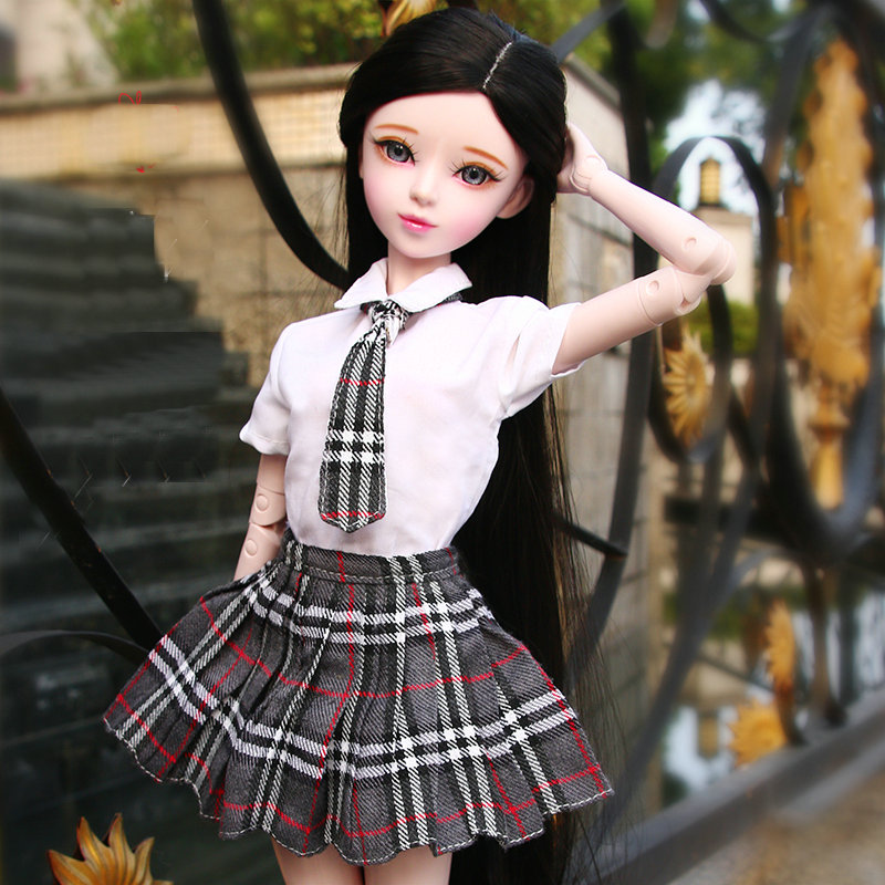 Original Handmade 60cm Lifelike Fashion Student School Girls Dolls Bjd 1/3 Doll Female Jointed Toy Doll Toys For Children  Gift