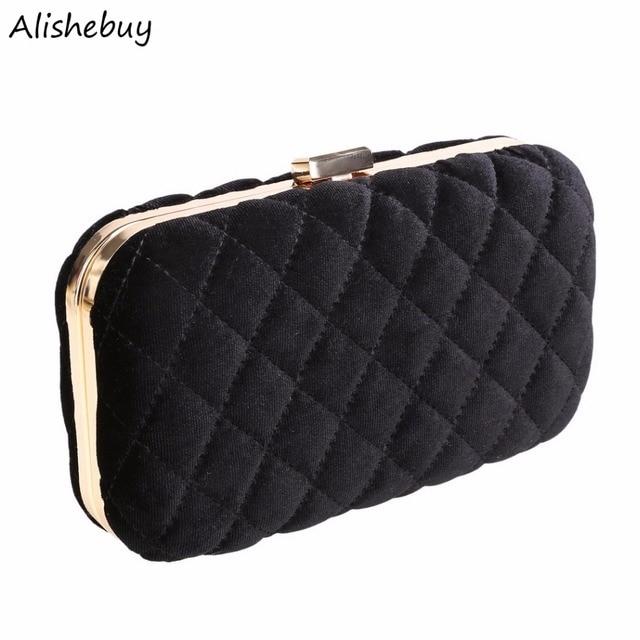 Fashion Velvet Evening Bags Solid Plaid Clutches Detachable Chain Bag Hasp  Black Red Winter Metal Party Crossbody Bags SVN031102 a3de35cb67d5d