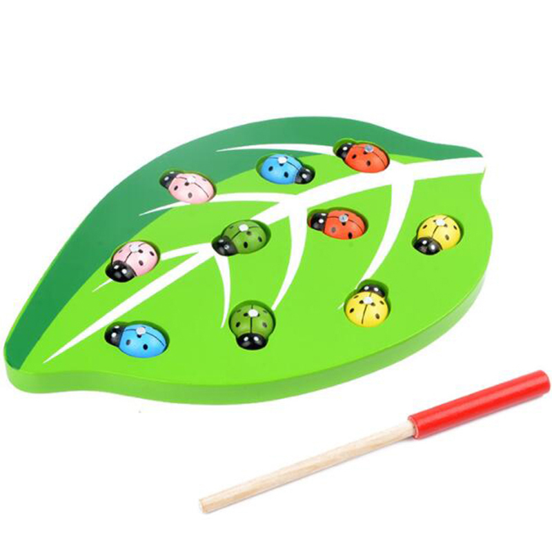 Magnetic Capture Leaves Ladybug Game Children Fun Early Education Wooden Hand Eye Coordination Parent-Child Puzzle Desktop Toy