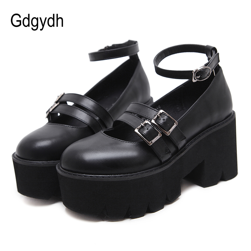Gdgydh Womens Pump Gothic Shoes Ankle Strap High Chunky Heels Platform Punk Creepers Shoes Female Fashion Buckle Comfortable