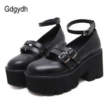 Gdgydh Frauen Pumpe Gothic Schuhe Ankle Strap Hohe Chunky Heels Plattform Punk Creepers Schuhe Weibliche Mode Schnalle Komfortable(China)