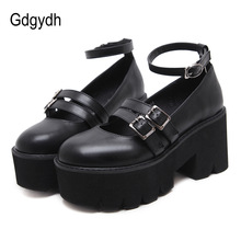 Heels Platform Buckle Creepers-Shoes Ankle-Strap Womens-Pump Punk Gdgydh Female High-Chunky