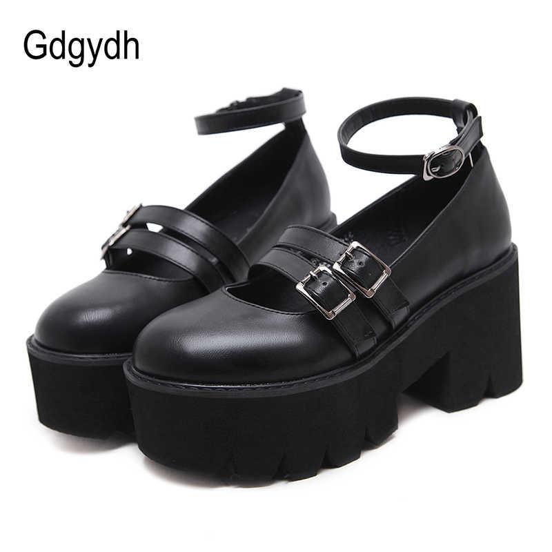 Gdgydh נשים משאבת גותי נעלי קרסול רצועה גבוהה שמנמן עקבים פלטפורמת פאנק מטפסי נעלי נשי אופנה אבזם נוח