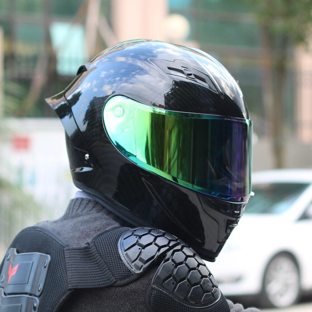 Casco de la motocicleta de la cara llena de carbono carreras Casco Moto Casque Moto de carretera aprobada por el DOT Cascos párr Moto cuesta abajo