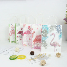 AVEBIEN 10pcs Flamingo Kraft Paper Gift Bag Wedding Decoration Clothes with Handle Party Favors Candy Package