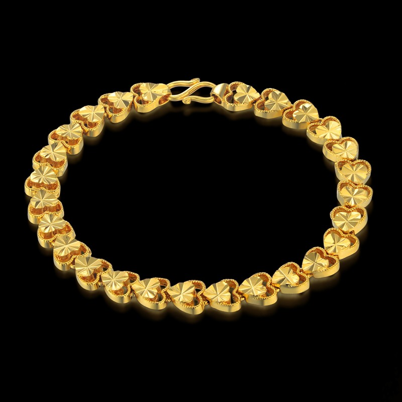 Womens Romantic Gold Color Chain Female Copper Heart Chain Bracelet Wholesale Braslet Chain Jewelry