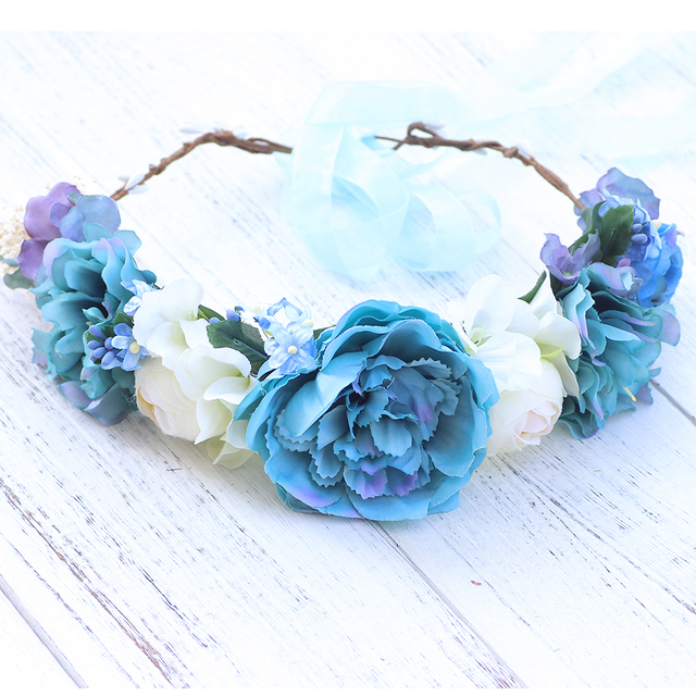 Light Blue Purple Flower Wreath Crown Garland Halo For Wedding Halo