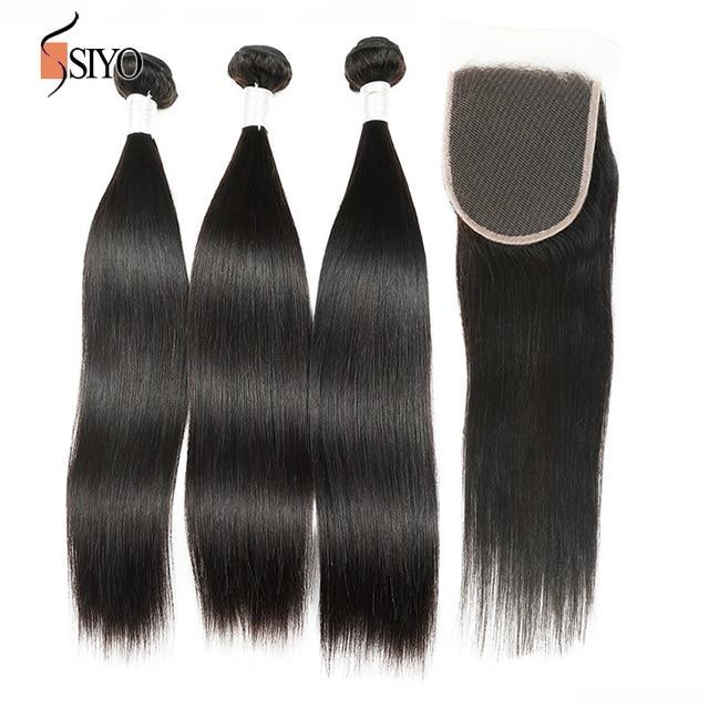 3 Bundles With Closure Indian Virgin Hair Straight 100% Human Hair Weave 7A Mixed Length Straight Hair Free Part Lace Closure