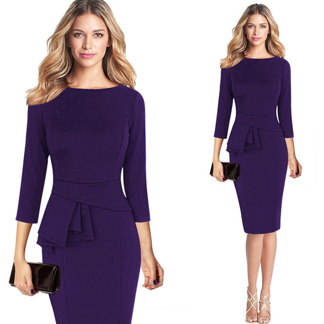 2017 New Fashion Women Winter Elegant Frill Peplum 3/4 Gown Sleeve Wear to Work Office Business Party Sheath Dress#30