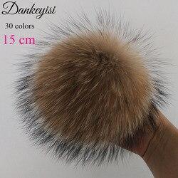 Pompompon de pelo de raposa real, faça você mesmo, bolas de guaxinim de pelo natural, bolas, chapéus, tamanho grande, 15cm acessórios para cachecóis de sapatos