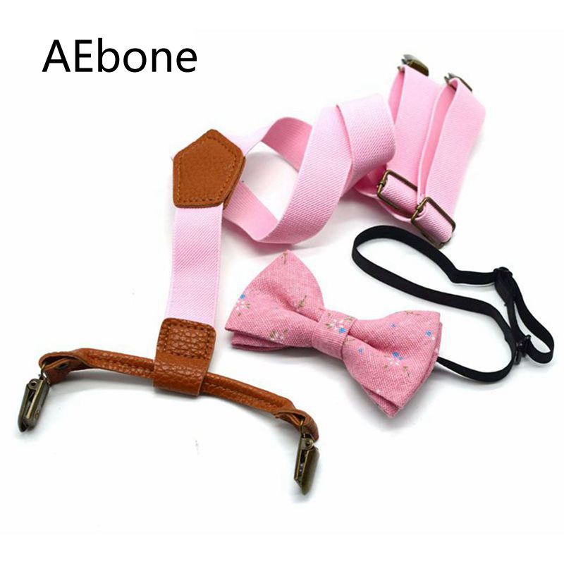 AEbone Pink Suspenders With Bow Tie For Baby Boys Girls Bow Tie And Braces Set 4 Clip Burgundy Navy Tirantes Bebe 2.5*65cm Sus31