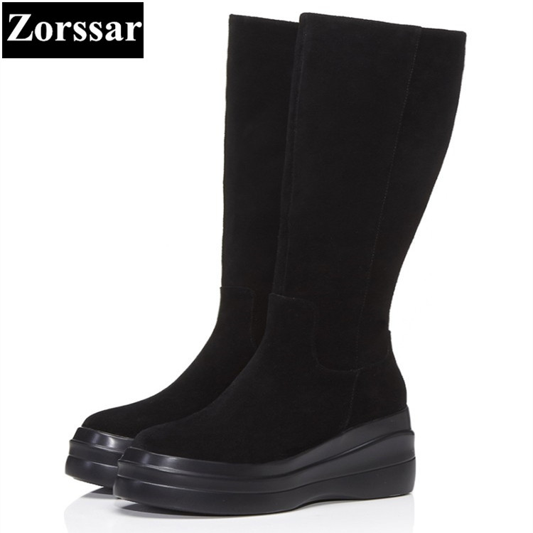 {Zorssar} 2017 NEW arrival winter Women Boots cow suede High heels platform Knee-high Snow Boots fashion womens shoes heels ppnu woman winter nubuck genuine leather over the knee snow boots women fashion womens suede thigh high boots ladies shoes flats