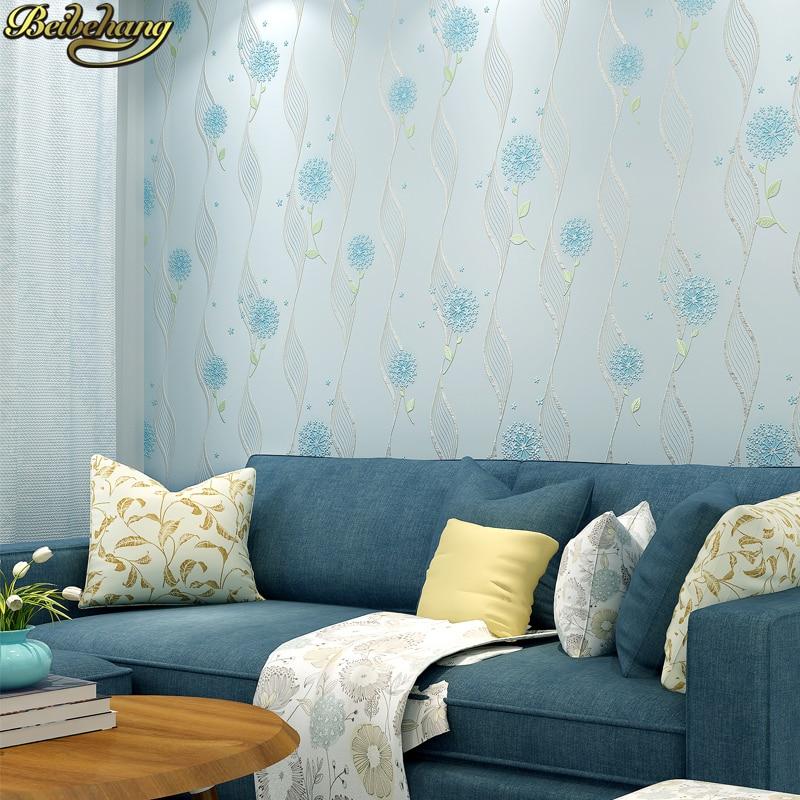 Купить с кэшбэком beibehang 53X300cm Non-woven self adhesive wallpapers for living room decoration 3D Dandelion wallpaper for kids room wall paper