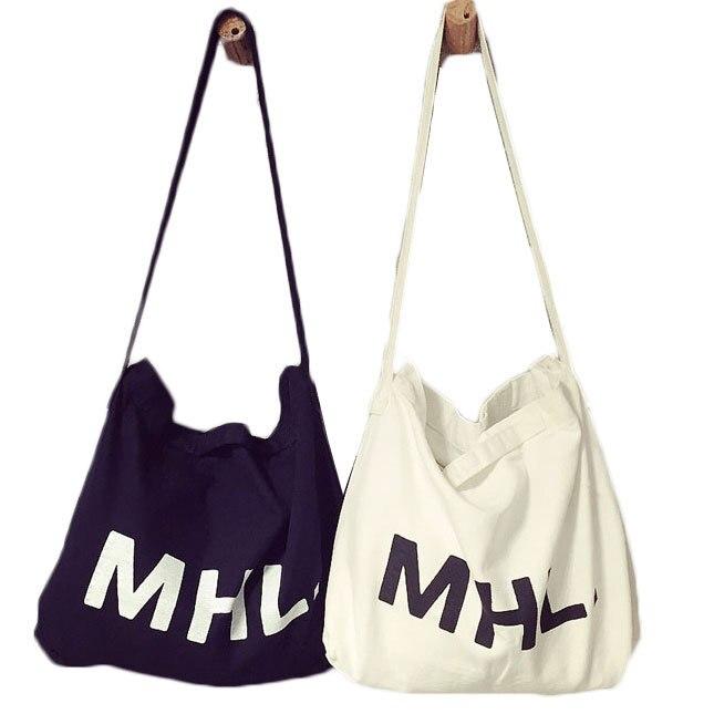 2015 Women Casual Letter MHL Print Canvas Handbags Female Denim ...