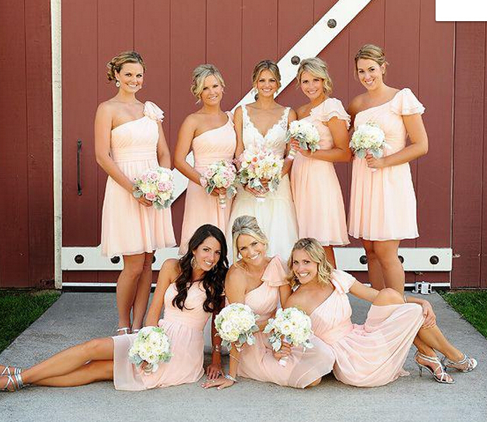 blush bridesmaid dress peach one shoulder vestido de casamento curto dama honra coral to wedding party