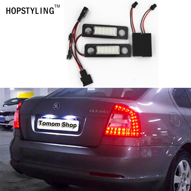 2x Free Error Car rear 18 SMD LED number plate light for Skoda Roomster 5J Octavia 1Z replacement auto accessory parts