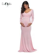 สีชมพูแขนยาวคลอดบุตรชุด Fitted Sheath ชุดการตั้งครรภ์ถ่ายภาพ Vestidos de fiesta de noche