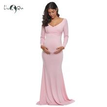 Różowa Off Shoulder z długim rękawem sukienka ciążowa dopasowana sukienka ciążowa sesja zdjęciowa Vestidos de fiesta de noche