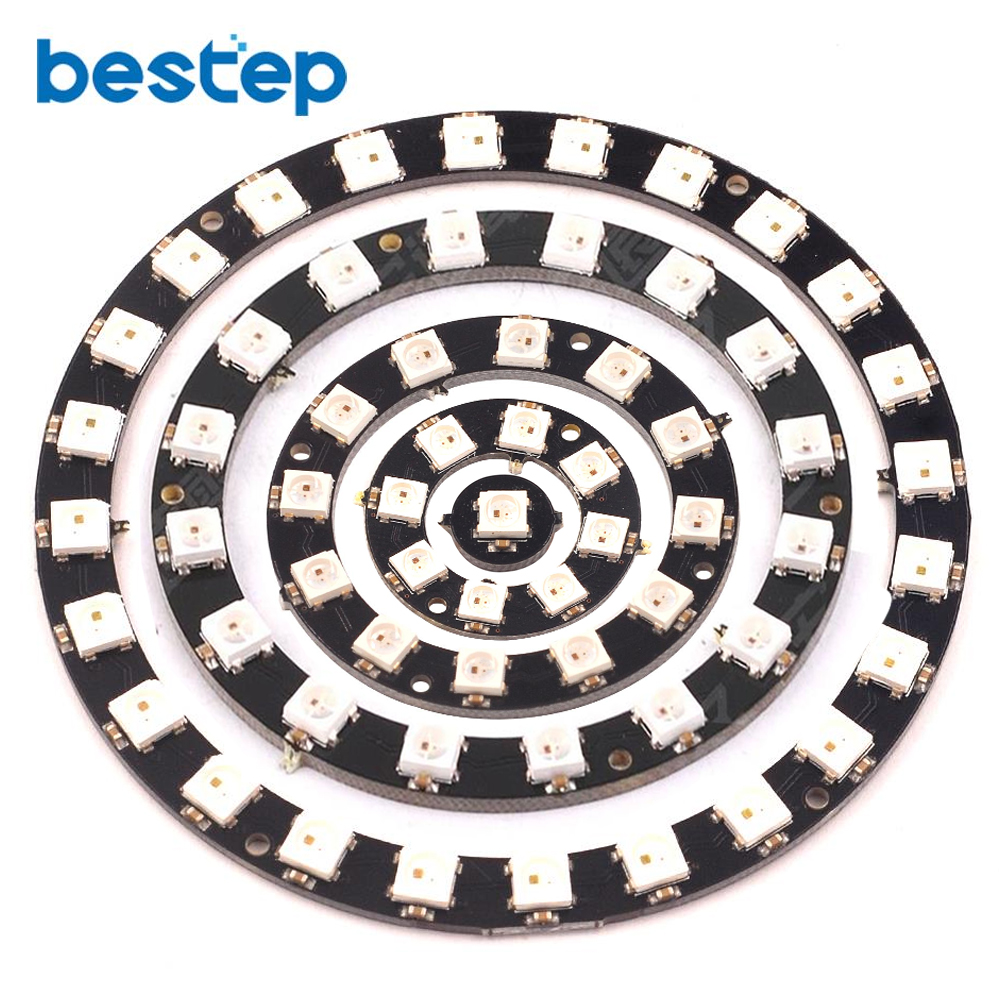1Bits/8Bits/12Bits/16Bits/24Bits WS2812 5050 RGB LED Ring Lamp Light with Integrated Drivers Round Development Board