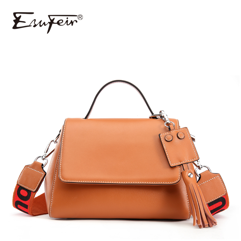 ESUFEIR Brand Genuine Leather Women Handbag Wide Straps Shoulder Bag Fashion Tassel Messenger Bag Crossboday Bags for Women 2018 new brand genuine leather women bag fashion retro stitching serpentine quality women shoulder messenger cowhide tassel small bag