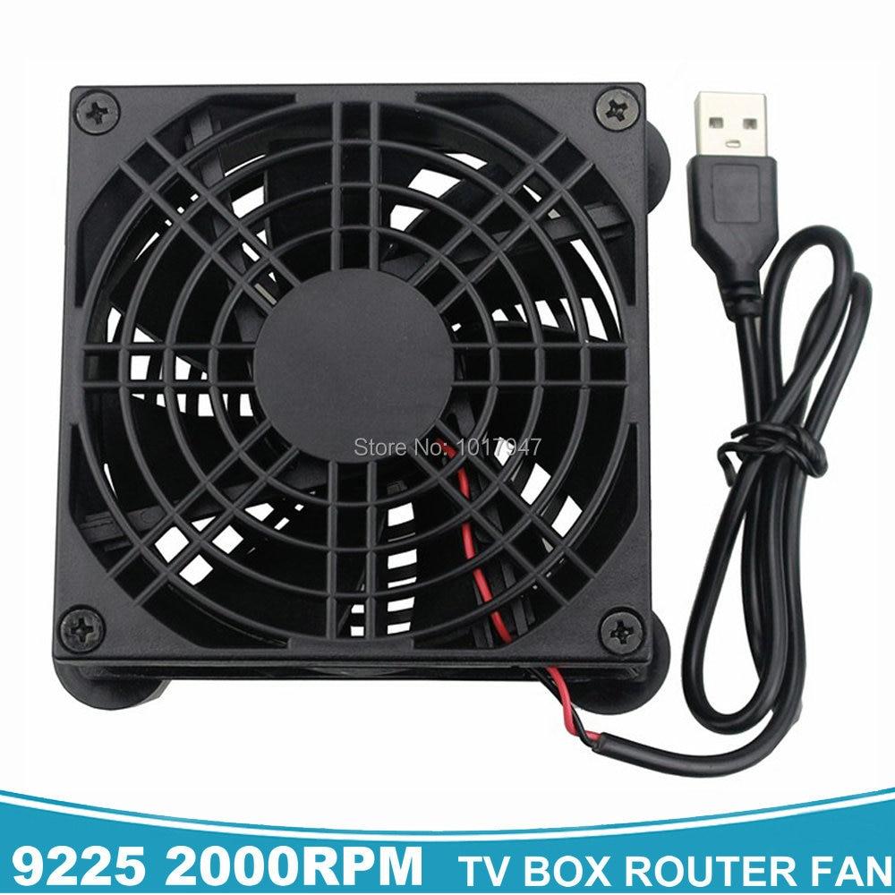 2 piezas 80mm 80 92mm caja de TV Router inalámbrico ventilador de refrigeración DC 5 V de alimentación USB refrigerador 92x92 x 25mm 9 CM con red de protección