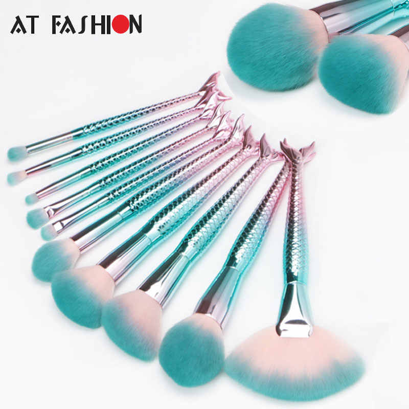 DI FASHION Terbaru 10 Pcs Mermaid Makeup Brushes Set Kosmetik Yayasan Blending Blush Mata Ikan Sikat Kecantikan Alat Kit