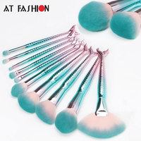 AT FASHION Newest 10Pcs Mermaid Makeup Brushes Set Cosmetic Foundation Blush Eye Shadow Blending Fish Brush
