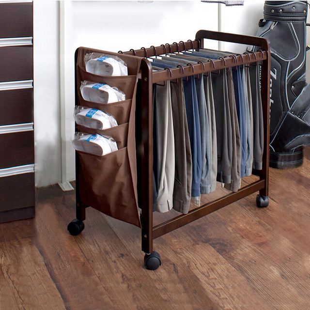 74 5x76cm Push Pull Wood Pants Rack Movable Clothing Wardrobe Storage Closet Laundry