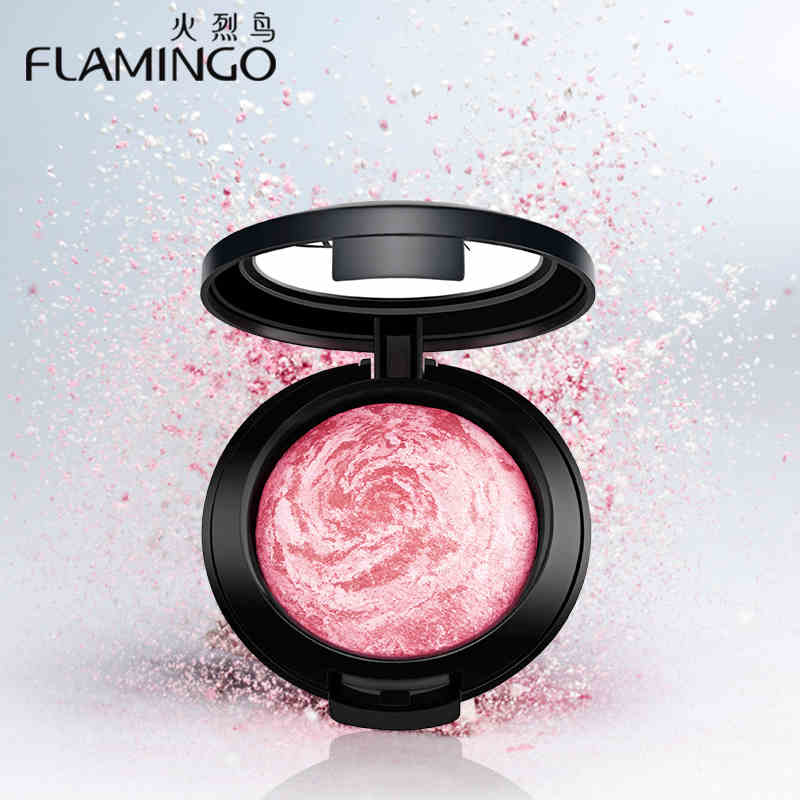 Beauty Face Makeup Brand Flamingo Blusher with brush mirror cheek silky felt blusher assorted color baking
