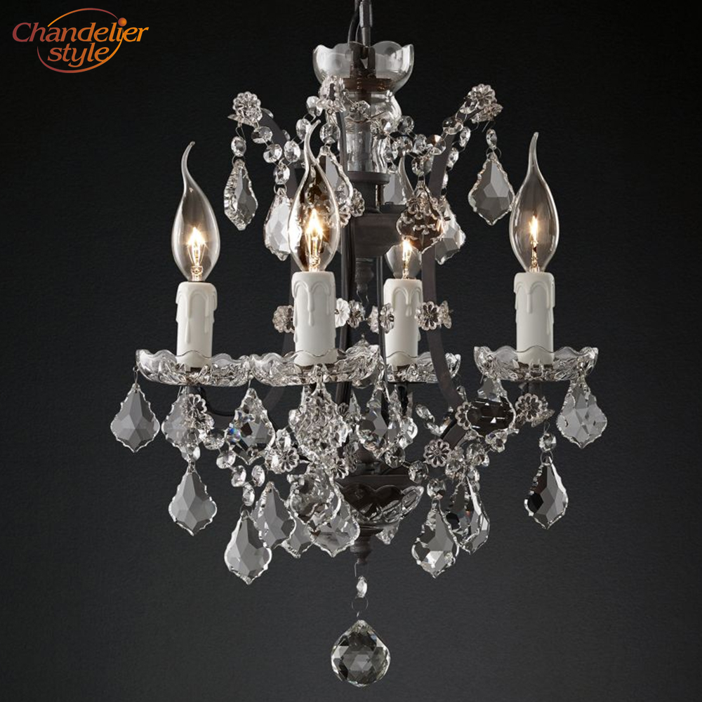 Image 2 - 19th C. Rococo Iron & Crystal Round Chandelier Lighting Modern LED Chandeliers Pendant Lamp Hanging Light for Living Dining Room-in Chandeliers from Lights & Lighting