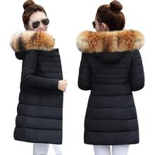 Winter Jacket Women 2019 Middle Long Cotton-padded Jackets Big Fur Hooded Collar Parkas Thicken Warm Winter Coat Female Parkas(China)