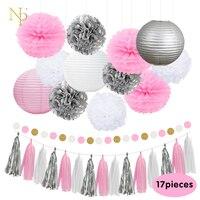 Nicro 17Pcs Mixed Silver Pink White Party Lantern Flower Tassel Hanging DIY Baptism Birthday Wedding Party