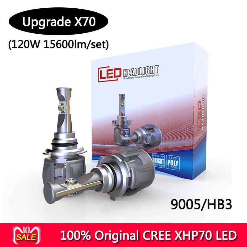 100 original CR EE X70 XHP70 LED auto headlight bulbs H4 H7 H8 H9 H11 9005