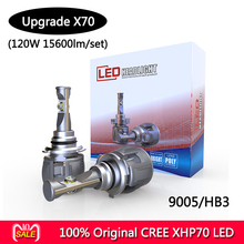 100% Оригинальный CR-EE X70 XHP70 светодиодный автомобильные лампы для фар H4 H7 H8 H9 H11 9005 9006 9012 5202 120 W 15600LM/комплект 6000 k в турбо вентилятор