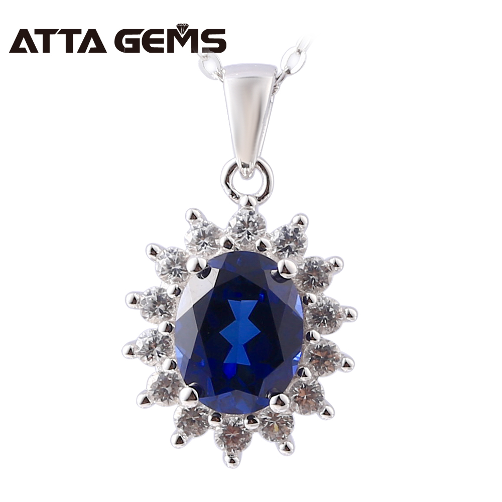 Blue Sapphire Sterling Silver Pendants 2.5 Carats Created Sapphire Pendants For Women Jewelry Brand Classic Style Silver Pendant
