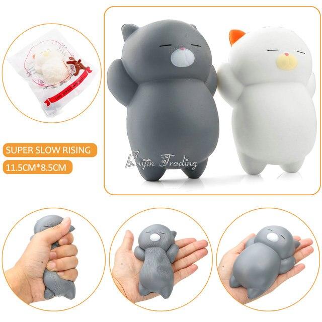 Jumbo 12CM Mochi Ushihito Kawaii Squishy Lazy Sleep Cat Kitty Super Slow Rising Phone Strap Squeeze Soft Original Bread Kid Toys