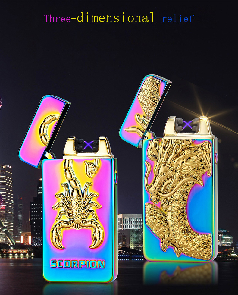 High Quality Scorpion And Eagle 3D Pattern Lighter Pulse Double Arc Cigarette Lighter USB Charging For Men