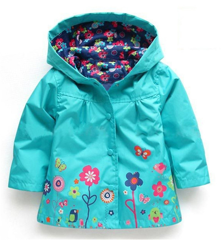 Children hooded coat girls lovely flowers wind rain jacket hooded ...