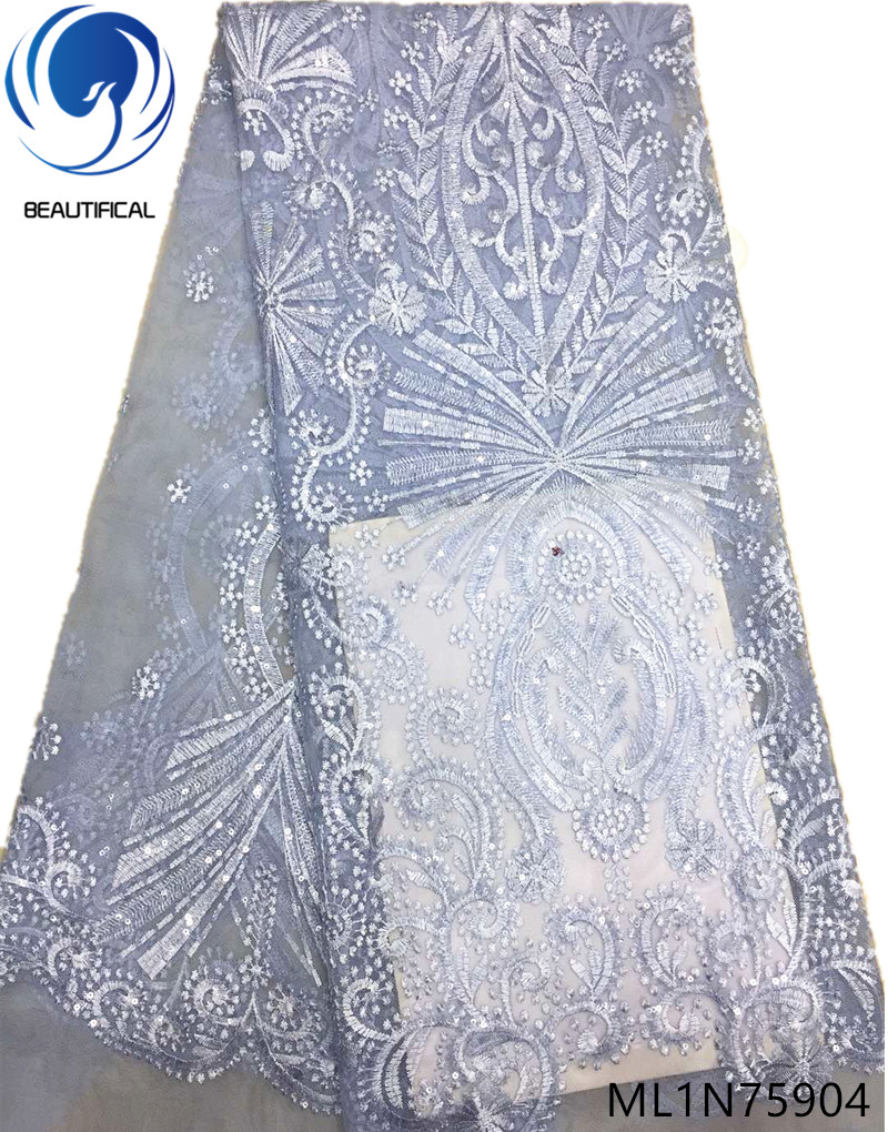 Beautifical african lace fabrics Latest style 5yards/lot lace sequins embroidery fabric net lace nigerian fabric 5yards ML1N759Beautifical african lace fabrics Latest style 5yards/lot lace sequins embroidery fabric net lace nigerian fabric 5yards ML1N759