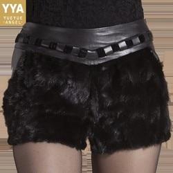 Nertsen Haar Down Lederen Shorts voor Vrouwen Ontwerper Schapenvacht Wrap Slanke Korte Mujer Kantoor Dames Lederen Korte Broek