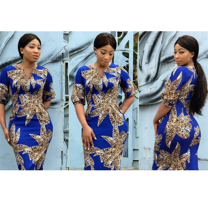 Traditional African Dashiki Woman Leopard Printed Dress V-neck Fashion Fit Clothing 2019 New Casual Bazin Party Dresses
