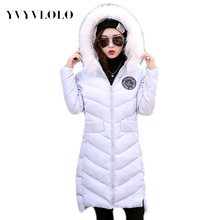 2016 New Hooded Parka Winter Down Jacket Women Long Coat Parkas Thickening Female Warm Clothes Fur Collar High Quality Overcoat