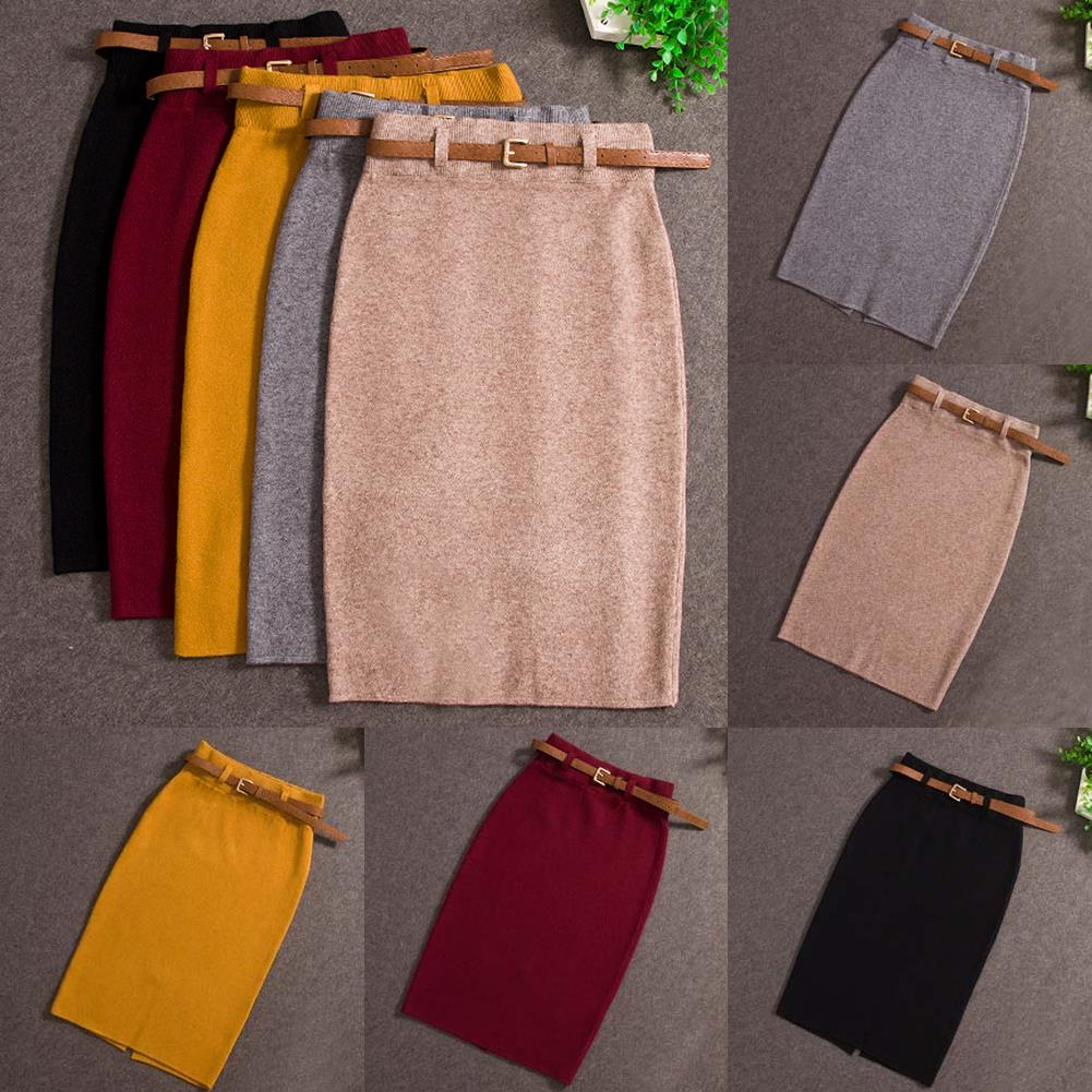 2018 Fashion Skirts Autumn winter Casual Women High Waist Knee-length Knitted Pencil Skirt Elegant slim Long Skirts Black Skirt 2