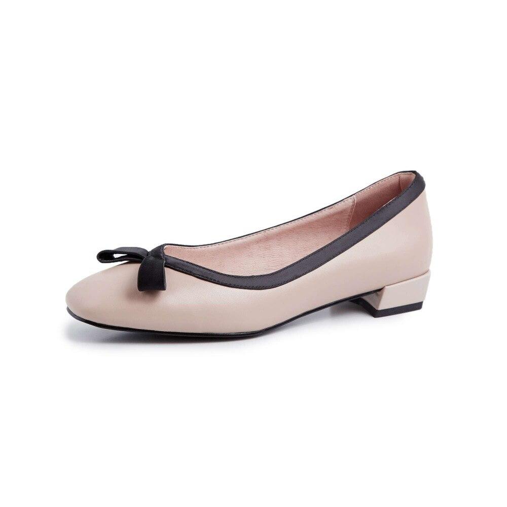 2019 أنيقة مربع اصبع القدم جلد طبيعي الكلاسيكية فراشة عقدة كعوب منخفضة زلة على الألوان المختلطة نجوم السينما لباس غير رسمي الأحذية l07-في أحذية نسائية من أحذية على  مجموعة 2