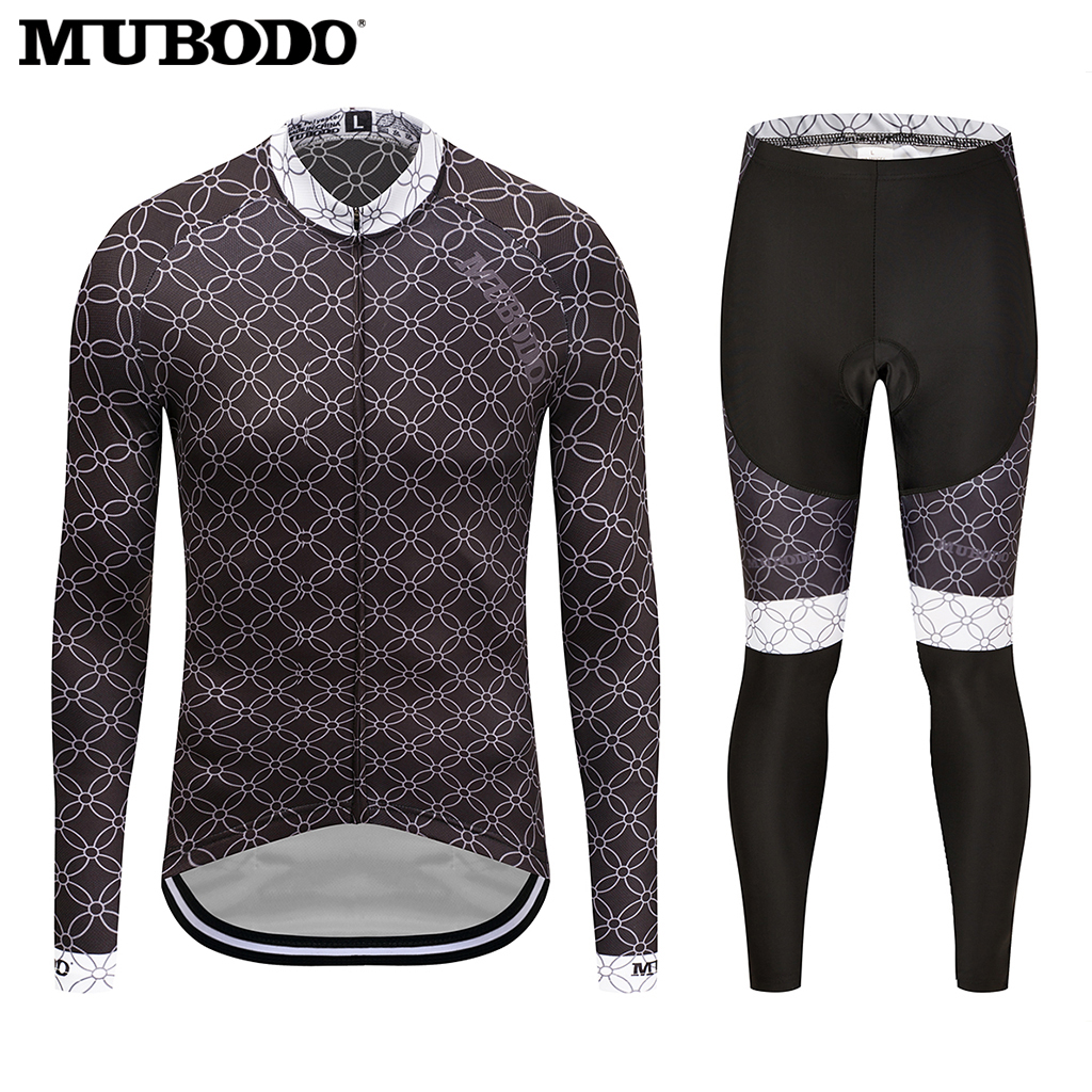 20118 MUBODO Black long sleeve cycling jersey sets Sunscreen riding clothes motocross jersey Quick-Dry Mountain Bike Clothing