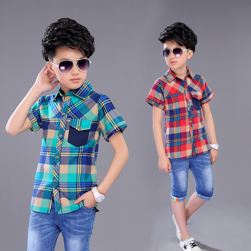 2017 New Arrival Boys Summer Style Brand Plaid Shirts Kids Cotton British style Clothes Boys Short Sleeves Casual Shirts ...
