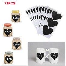 72Pcs/Set Blackboard Sticker Craft Kitchen Jar Organizer Labels Chalkboard Chalk Board Stickers Black