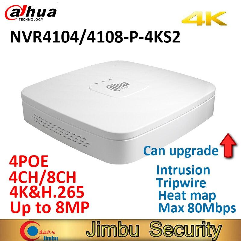 Dahua NVR 4CH NVR4104-P-4KS2 NVR4108-P-4KS2 Smart 1U 4PoE port 4 k & H.265 Lite Réseau Enregistreur Vidéo jusqu'à 8MP résolution