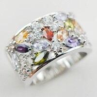 Weinuo sterling-srebrny-Morganite Granat biżuteria White Crystal Cyrkon 925 sterling silver biżuteria Pierścionek Rozmiar 6 7 8 9 10 11 A31