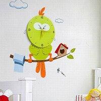 Free Shipping Creative DIY 3D Interior Decorating Vinyl Owl Wall Clock For Kids Room Good Gift
